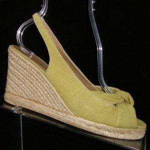 Talbots green canvas knotted espadrille wedge 7.5M